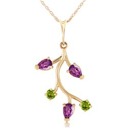 Genuine 0.95 ctw Amethyst & Peridot Necklace Jewelry 14KT Yellow Gold - REF-32Z2N
