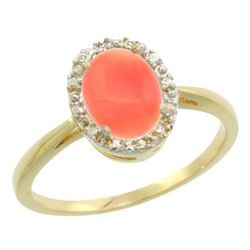 Natural 1.17 ctw Coral & Diamond Engagement Ring 10K Yellow Gold - REF-19W9K