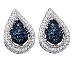 0.40 CTW Blue Color Diamond Teardrop Cluster Earrings 10KT White Gold - REF-26W9K