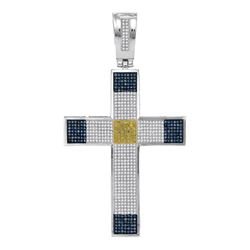 1.78 CTW Mens Blue & Yellow Color Diamond Roman Cross Charm Pendant 10KT White Gold - REF-104F9N