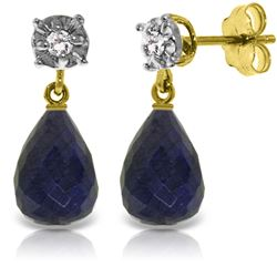 Genuine 17.66 ctw Sapphire & Diamond Earrings Jewelry 14KT Yellow Gold - REF-37A4K