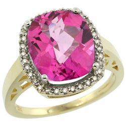 Natural 5.28 ctw Pink-topaz & Diamond Engagement Ring 14K Yellow Gold - REF-53Y2X