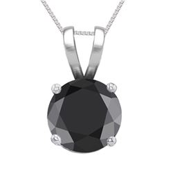 14K White Gold Jewelry 1.01 ct Black Diamond Solitaire Necklace - REF#61A8V-WJ13288
