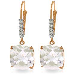 Genuine 7.35 ctw White Topaz & Diamond Earrings Jewelry 14KT Rose Gold - REF-57V3W