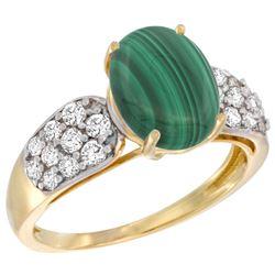 Natural 3.1 ctw malachite & Diamond Engagement Ring 14K Yellow Gold - REF-56V2F