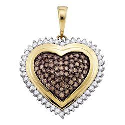 1 CTW Cognac-brown Color Diamond Framed Heart Pendant 10KT Yellow Gold - REF-67H4M