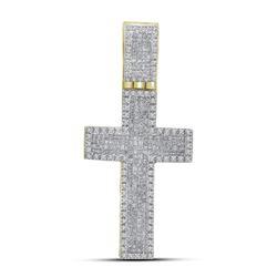 1.65 CTW Mens Princess Diamond Inset Cross Charm Pendant 10KT Yellow Gold - REF-82M4H