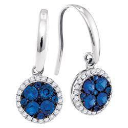 0.93 CTW Blue Sapphire Cluster Dangle Earrings 14KT White Gold - REF-67K4W