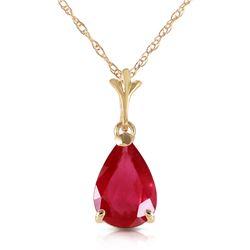 Genuine 1.75 ctw Ruby Necklace Jewelry 14KT Yellow Gold - REF-25X2M