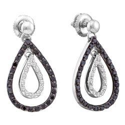 0.80 CTWBlack Color Diamond Double Teardrop Dangle Earrings 14KT White Gold - REF-52W4K