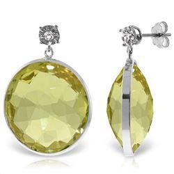 Genuine 34.06 ctw Lemon Quartz & Diamond Earrings Jewelry 14KT White Gold - REF-65W3Y