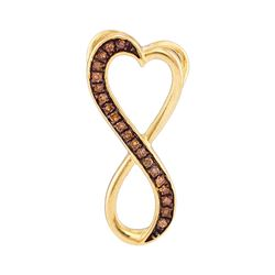 0.10 CTW Cognac-brown Color Diamond Heart Infinity Pendant 10KT Yellow Gold - REF-9H7M