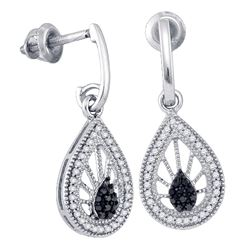 0.35 CTW Black Color Diamond Teardrop Dangle Earrings 10KT White Gold - REF-30K2W