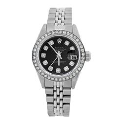 Rolex Pre-owned 26mm Womens Custom Black Stainless Steel - REF-470M4R