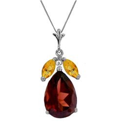 Genuine 6.5 ctw Garnet & Citrine Necklace Jewelry 14KT White Gold - REF-42A2K