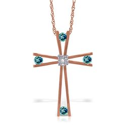 Genuine 0.43 ctw Blue Topaz & Diamond Necklace Jewelry 14KT Rose Gold - REF-76K7V