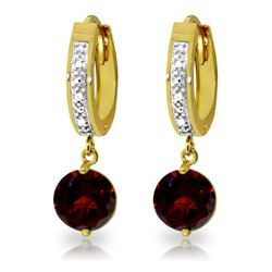 Genuine 2.53 ctw Garnet & Diamond Earrings Jewelry 14KT Yellow Gold - REF-54K6V