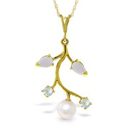 Genuine 2.45 ctw Opal, Aquamarine & Pearl Necklace Jewelry 14KT Yellow Gold - REF-30A2K