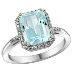 Natural 2.63 ctw Aquamarine & Diamond Engagement Ring 14K White Gold - REF-55H8W