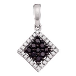 0.30 CTW Black Color Diamond Diagonal Square Pendant 10KT White Gold - REF-14H9M