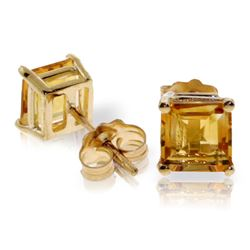 Genuine 1.75 ctw Citrine Earrings Jewelry 14KT Yellow Gold - REF-24Z3N