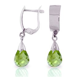 Genuine 2.5 ctw Peridot Earrings Jewelry 14KT White Gold - REF-22F3Z