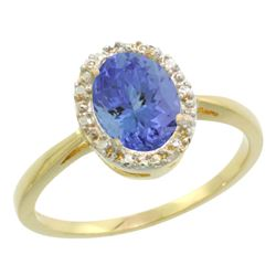 Natural 1.35 ctw Tanzanite & Diamond Engagement Ring 14K Yellow Gold - REF-49X8A