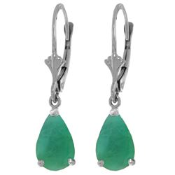 Genuine 2 ctw Emerald Earrings Jewelry 14KT White Gold - REF-43Y9F