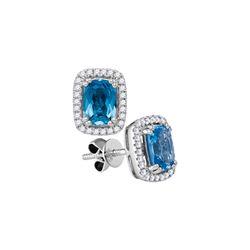 1.05 CTW Cushion Blue Topaz Solitaire Diamond Earrings 14KT White Gold - REF-67K4W