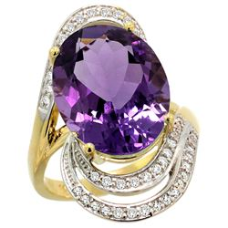 Natural 11.2 ctw amethyst & Diamond Engagement Ring 14K Yellow Gold - REF-95N8G
