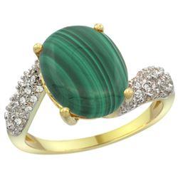 Natural 4.95 ctw malachite & Diamond Engagement Ring 14K Yellow Gold - REF-47W6K