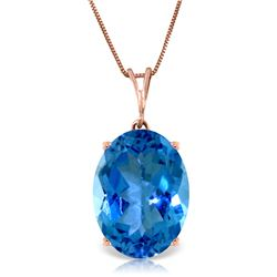 Genuine 8 ctw Blue Topaz Necklace Jewelry 14KT Rose Gold - REF-36T3A