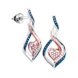 0.16 CTW Blue Color Diamond Heart Earrings 10KT Two-tone Gold - REF-22X4Y