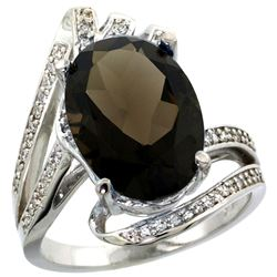 Natural 5.76 ctw smoky-topaz & Diamond Engagement Ring 14K White Gold - REF-92H7W