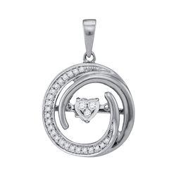 0.15 CTW Diamond Heart Circle Pendant 10KT White Gold - REF-26K9W