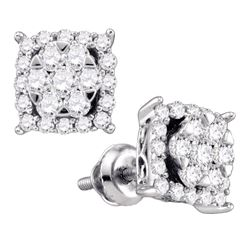0.60 CTWDiamond Square Cluster Earrings 10KT White Gold - REF-44M9H