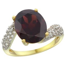 Natural 6.45 ctw garnet & Diamond Engagement Ring 14K Yellow Gold - REF-62X3A