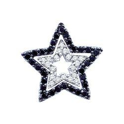 0.33 CTW Black Color Diamond Star Cutout Pendant 14KT White Gold - REF-34Y4X