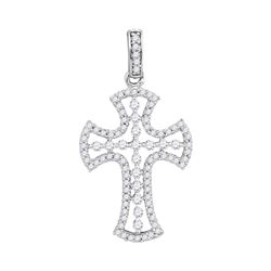 0.50 CTWPave-set Diamond Cross Pendant 10KT White Gold - REF-26Y9X