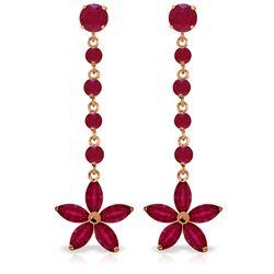 Genuine 4.8 ctw Ruby Earrings Jewelry 14KT Rose Gold - REF-69A6K