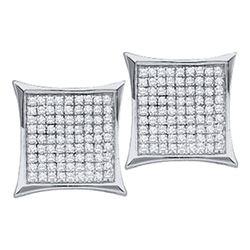 0.23 CTW Diamond Square Cluster Earrings 10KT White Gold - REF-10W5K