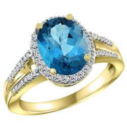 Natural 2.72 ctw london-blue-topaz & Diamond Engagement Ring 14K Yellow Gold - REF-54G9M