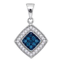 0.25 CTW Blue Color Diamond Diagonal Square Pendant 10KT White Gold - REF-14W9K