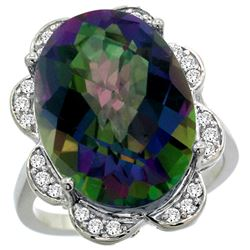 Natural 13.83 ctw mystic-topaz & Diamond Engagement Ring 14K White Gold - REF-124R4Z