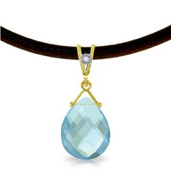 Genuine 6.51 ctw Blue Topaz & Diamond Necklace Jewelry 14KT Yellow Gold - REF-26Y9F