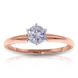 Genuine 0.35 ctw Diamond Anniversary Ring Jewelry 14KT Rose Gold - REF-110Z9N