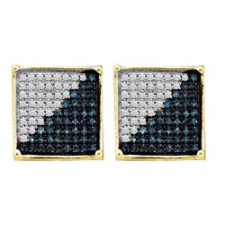 0.15 CTW Mens Blue Color Diamond Square Cluster Earrings 10KT Yellow Gold - REF-12W2K