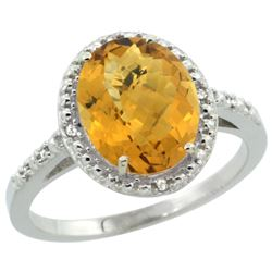 Natural 2.42 ctw Whisky-quartz & Diamond Engagement Ring 14K White Gold - REF-33V8F