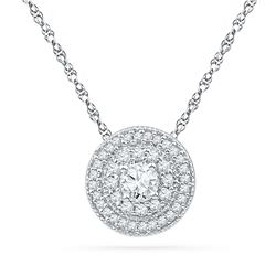 0.50 CTWDiamond Solitaire Pendant 10KT White Gold - REF-44X9Y
