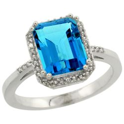 Natural 2.63 ctw Swiss-blue-topaz & Diamond Engagement Ring 10K White Gold - REF-32Z7Y